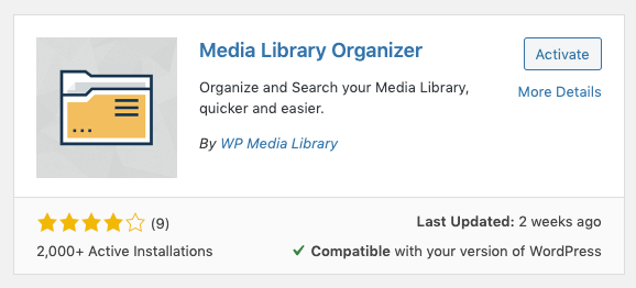 Media Library Organizer: Activate Plugin