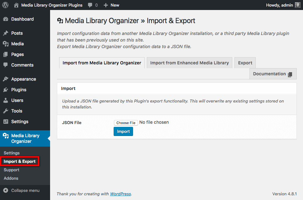 Import from Media Library Organizer: Menu