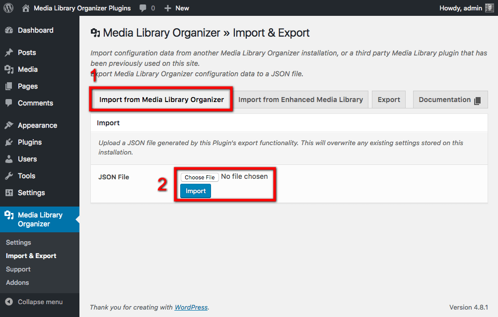 Import from Media Library Organizer: Import