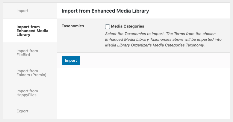 Media Library Organizer: Import from Enhanced Media Library