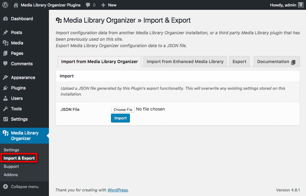 Import from Enhanced Media Library: Menu