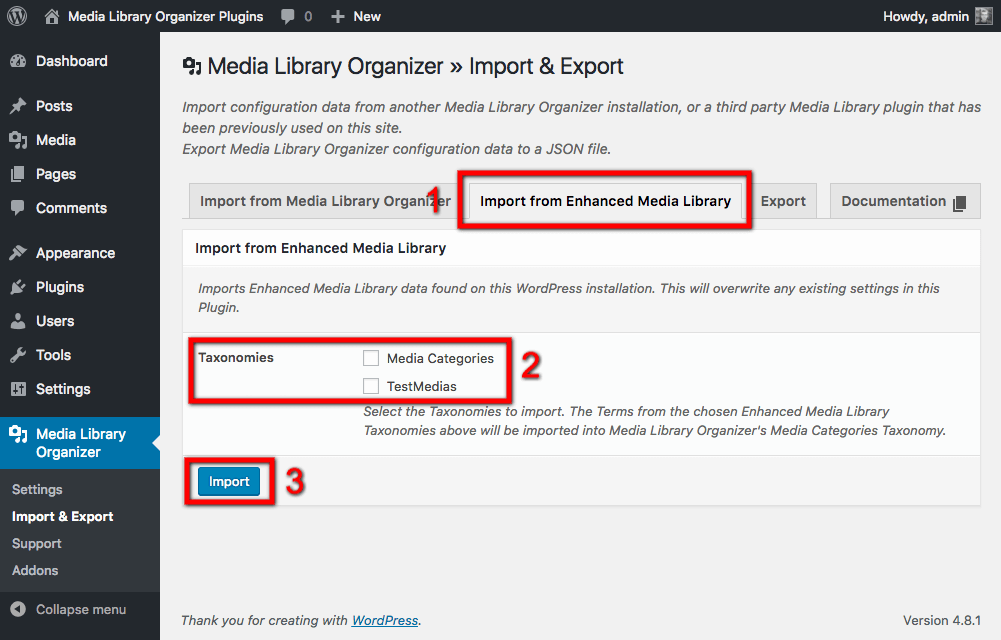 Import from Enhanced Media Library: Import Settings