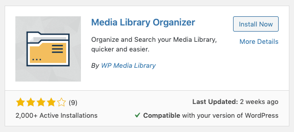 Media Library Organizer: Install Plugin