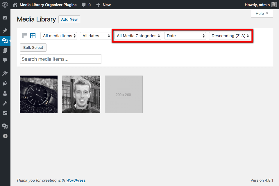 Media Library: Filters