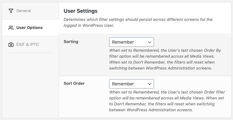 Media Library Organizer: Settings: User Options