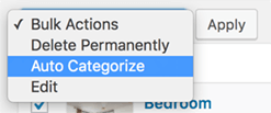 Auto Categorize: Bulk Actions List: Select