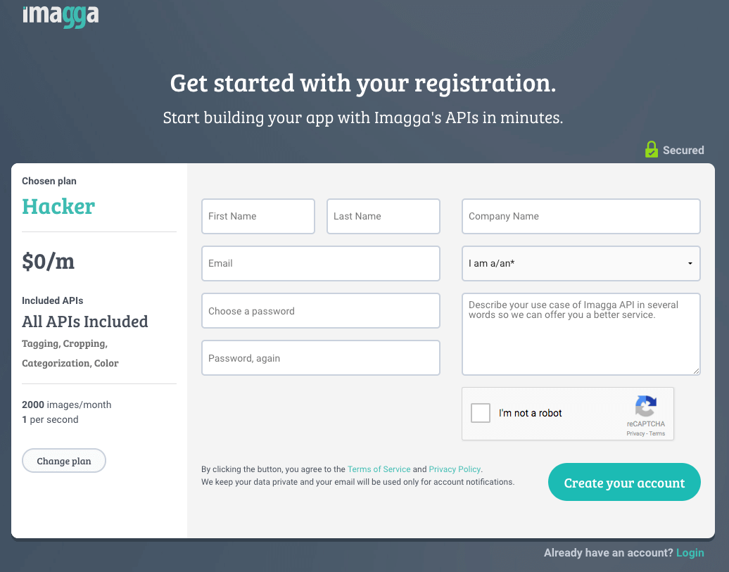 Auto Categorization: Imagga: Register