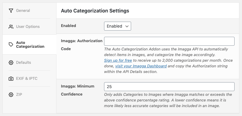 Media Library Organizer Pro: Auto Categorization: Settings