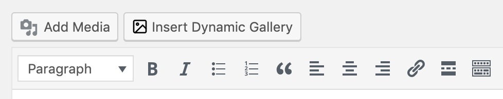 Media Library Organiser: Dynamic Galleries: Insert Dynamic Gallery Button