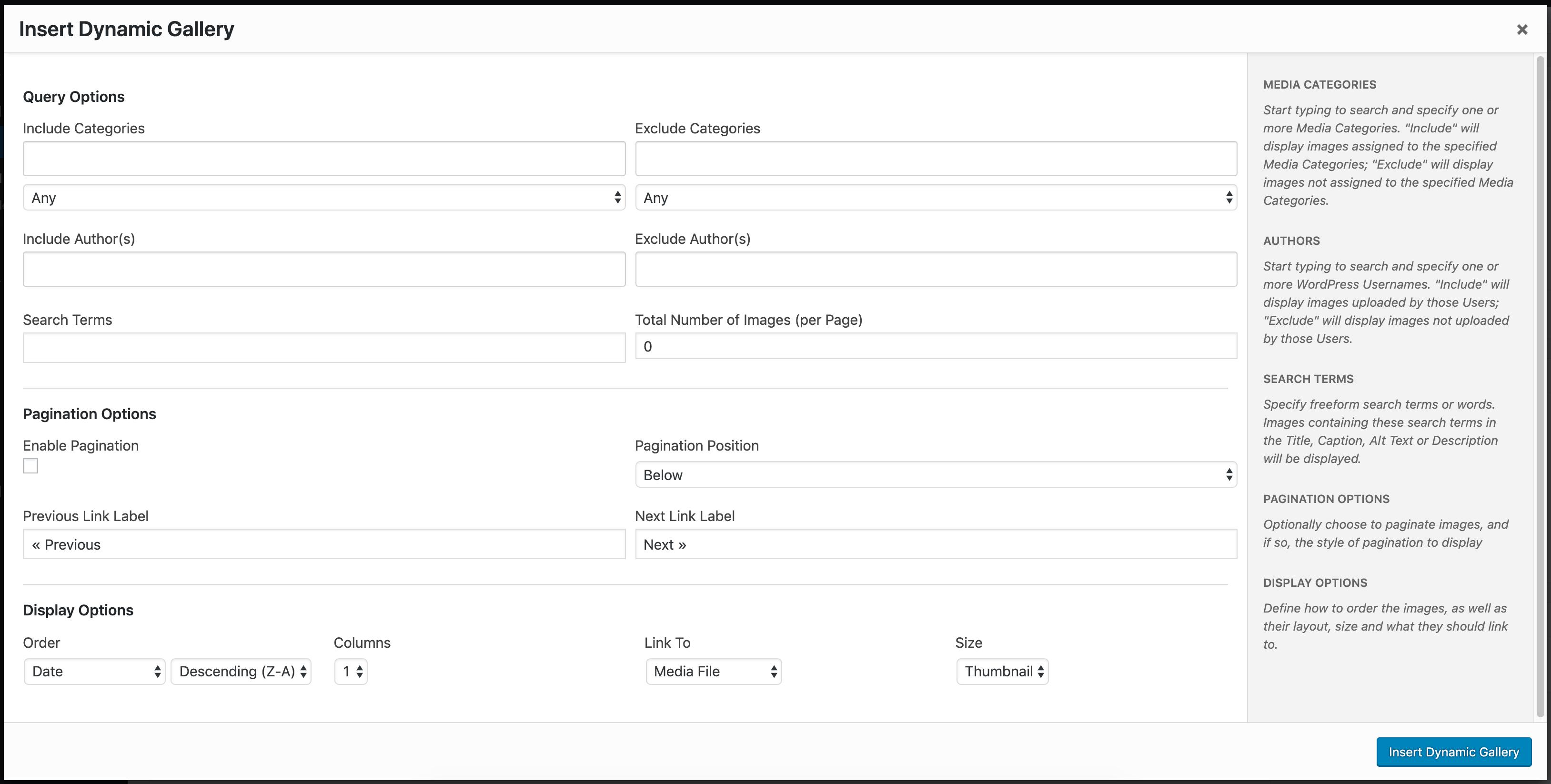 Media Library Organiser: Dynamic Galleries: Insert Dynamic Gallery Modal