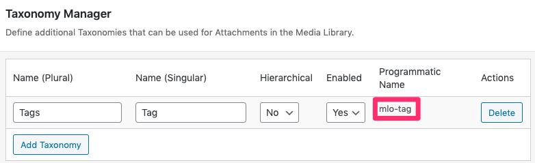 Media Library Organizer Pro: Taxonomy Manager: Taxonomy Slug