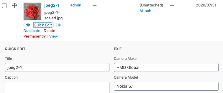 Media Library Organizer Pro: EXIF: Quick Edit