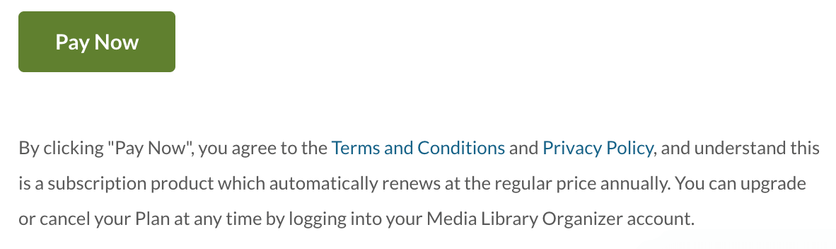 WP Media Library: Terms & Conditions: Renewals: Checkout Acceptance