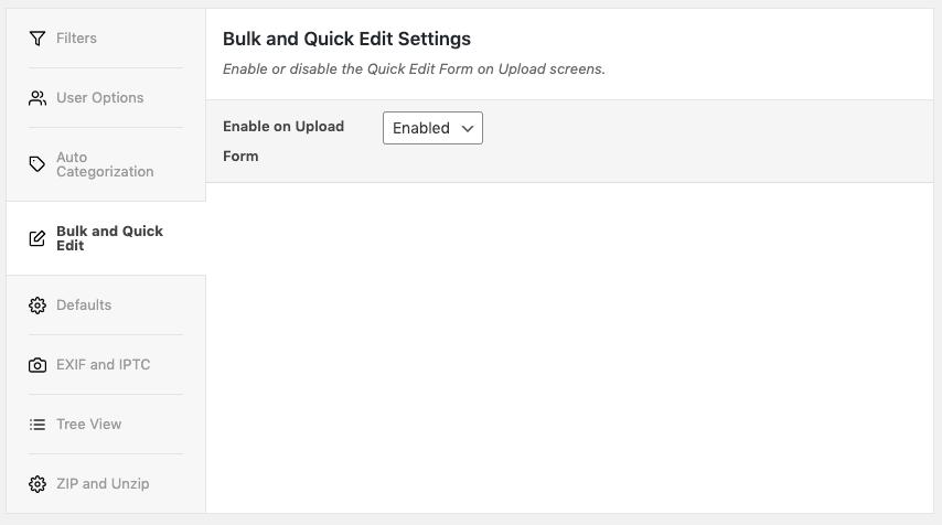 Media Library Organizer: Bulk and Quick Edit: Settings