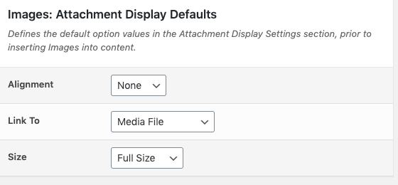 Media Library Organizer: Defaults: Attachment Display Options