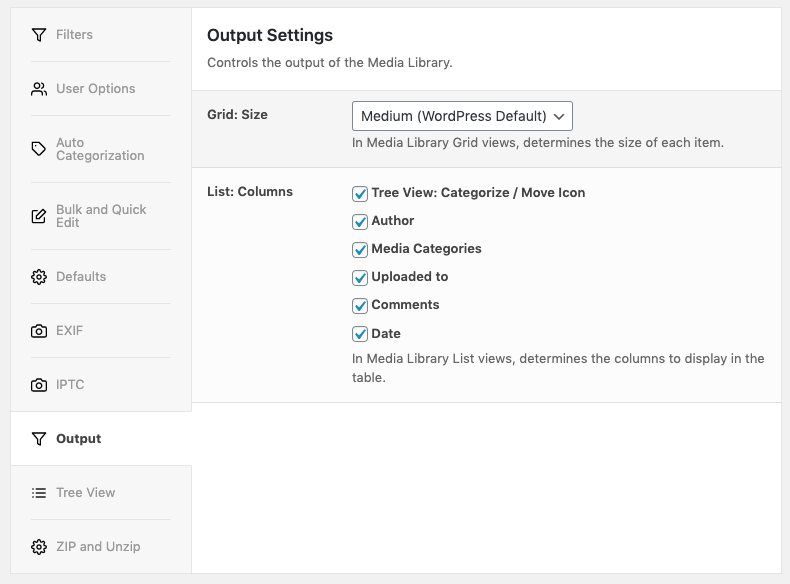Media Library Organizer: Output: Settings