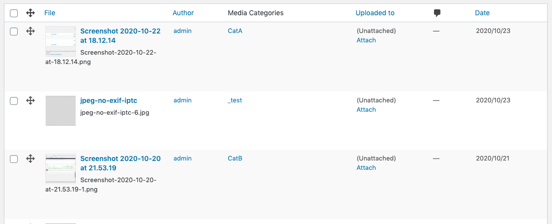 Media Library Organizer: Output: Settings: List View Columns