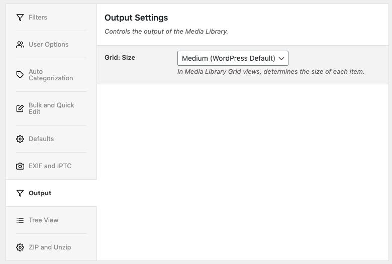 Media Library Organizer: Output Settings
